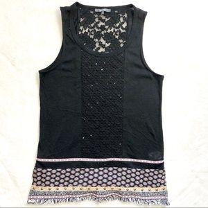 Miss me boho tunic shirt top blouse m fringe